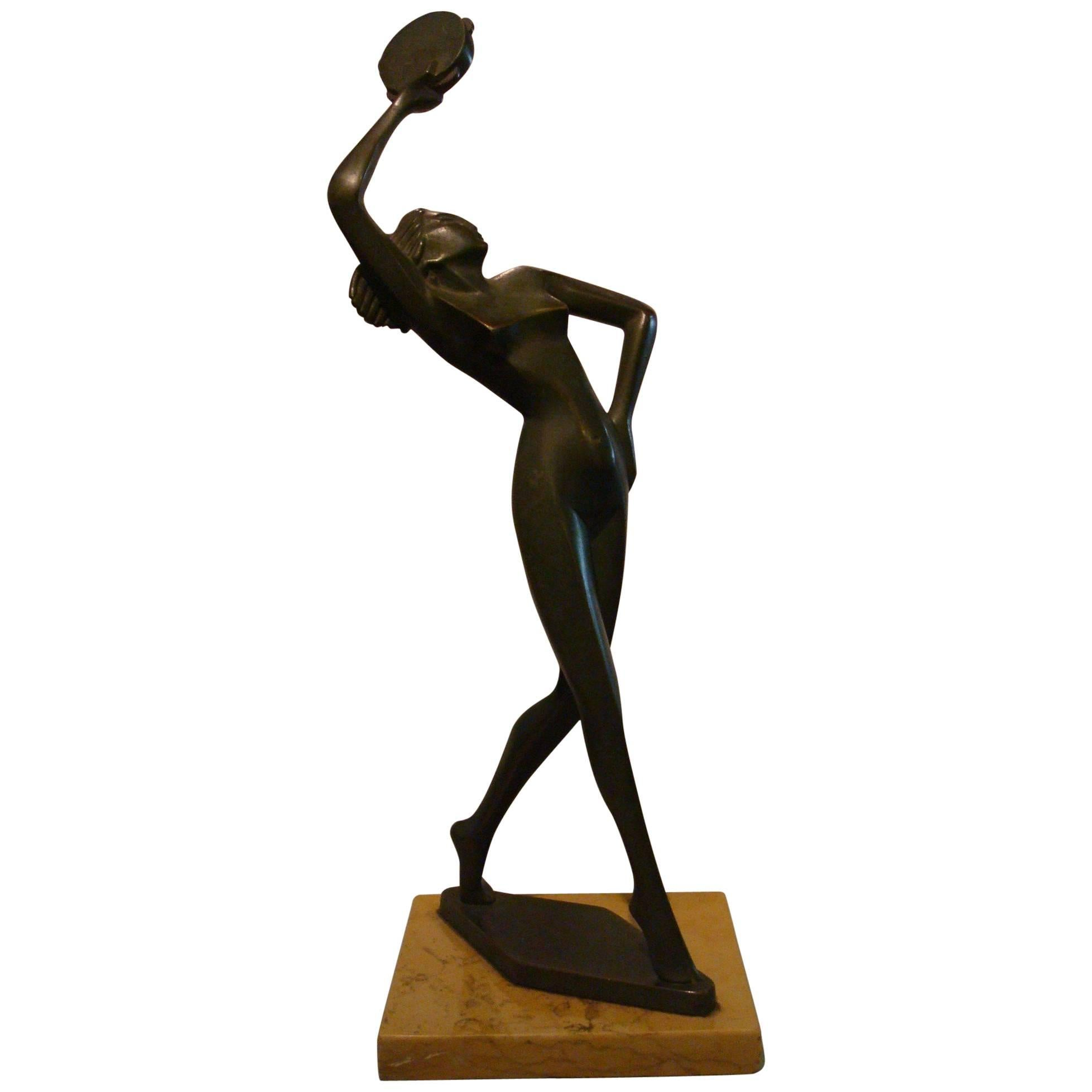 Art Deco Figure Nude Woman Dancer Bronze Sculpture - Italy