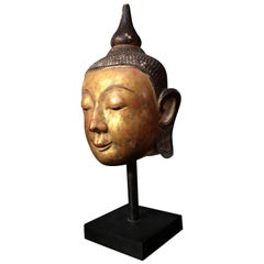 Monumental Burmese Ava Style Marble Head of the Buddha, 17th Century