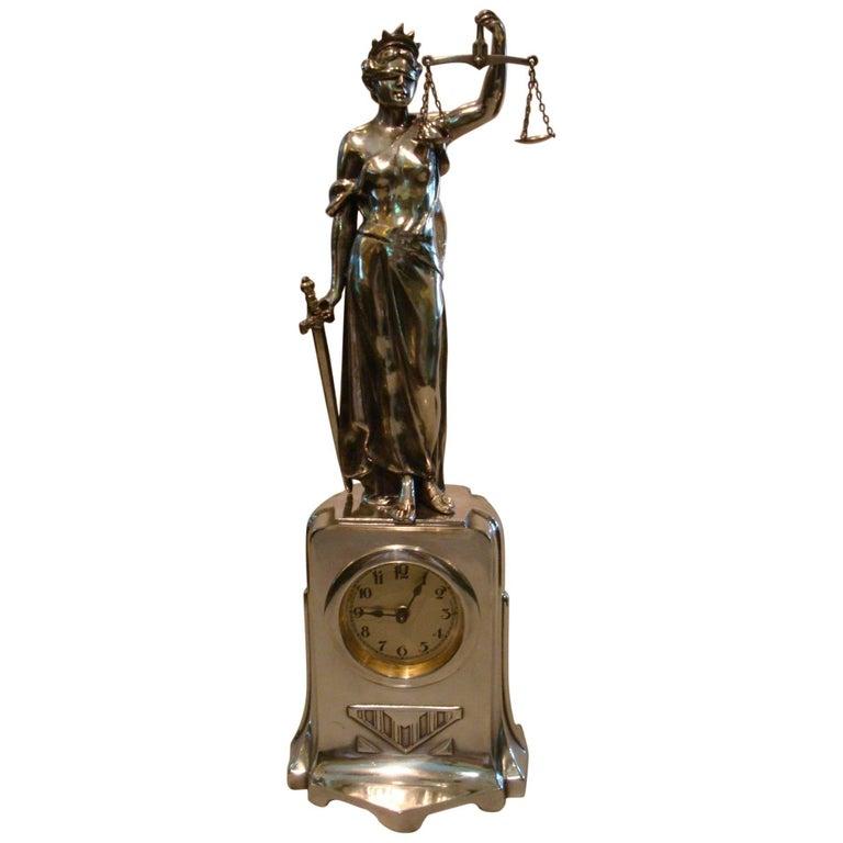 Justice Women Sculpture Desk Clock, German, 1910