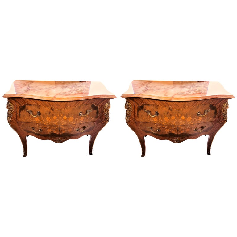 Pair of Louis XV Style Marble-Top Bombe Commodes or Nightstand Chests