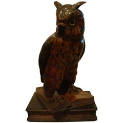 Black Forest Wooden Carved Owl over Books, Germany, 1890s