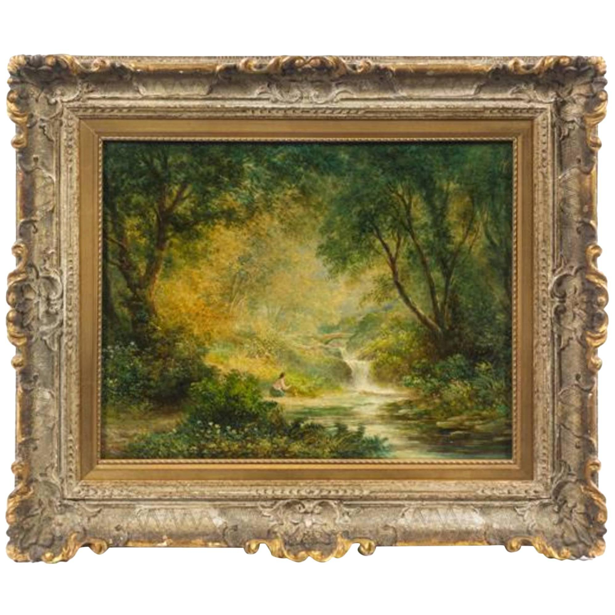 Continental School 'Late 19th century' Forest Landscape with Figure