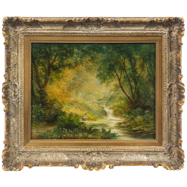 Continental School 'Late 19th century' Forest Landscape with Figure For Sale