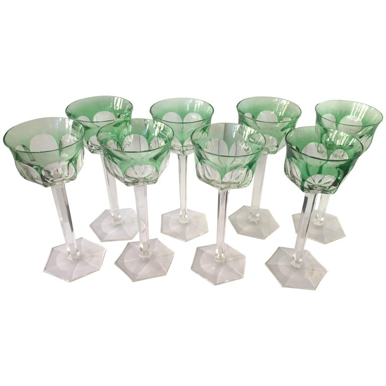 Set of Eight Osram Val Saint Lambert Green Wine Glasses For Sale