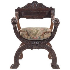 18th Century Italian X-Form Chair with Wonderful Detailed Carving and Patina