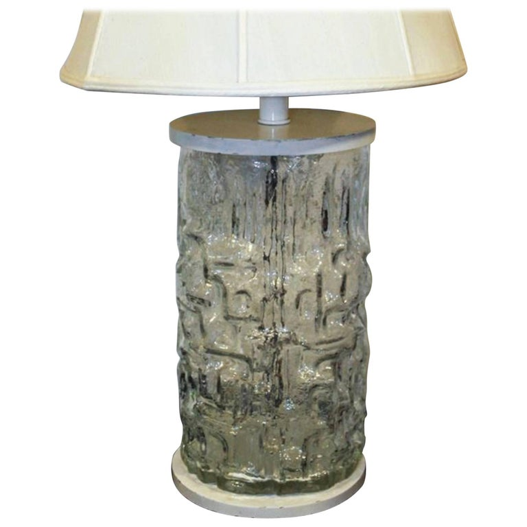 Art Deco Opal Glass Vase Mounted And Wired As A Table Lamp For Sale