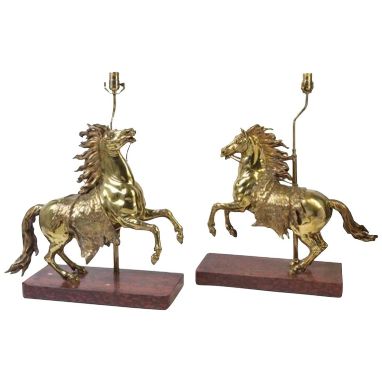 Pair of Gilt Bronze Horses Mounted as Lamps