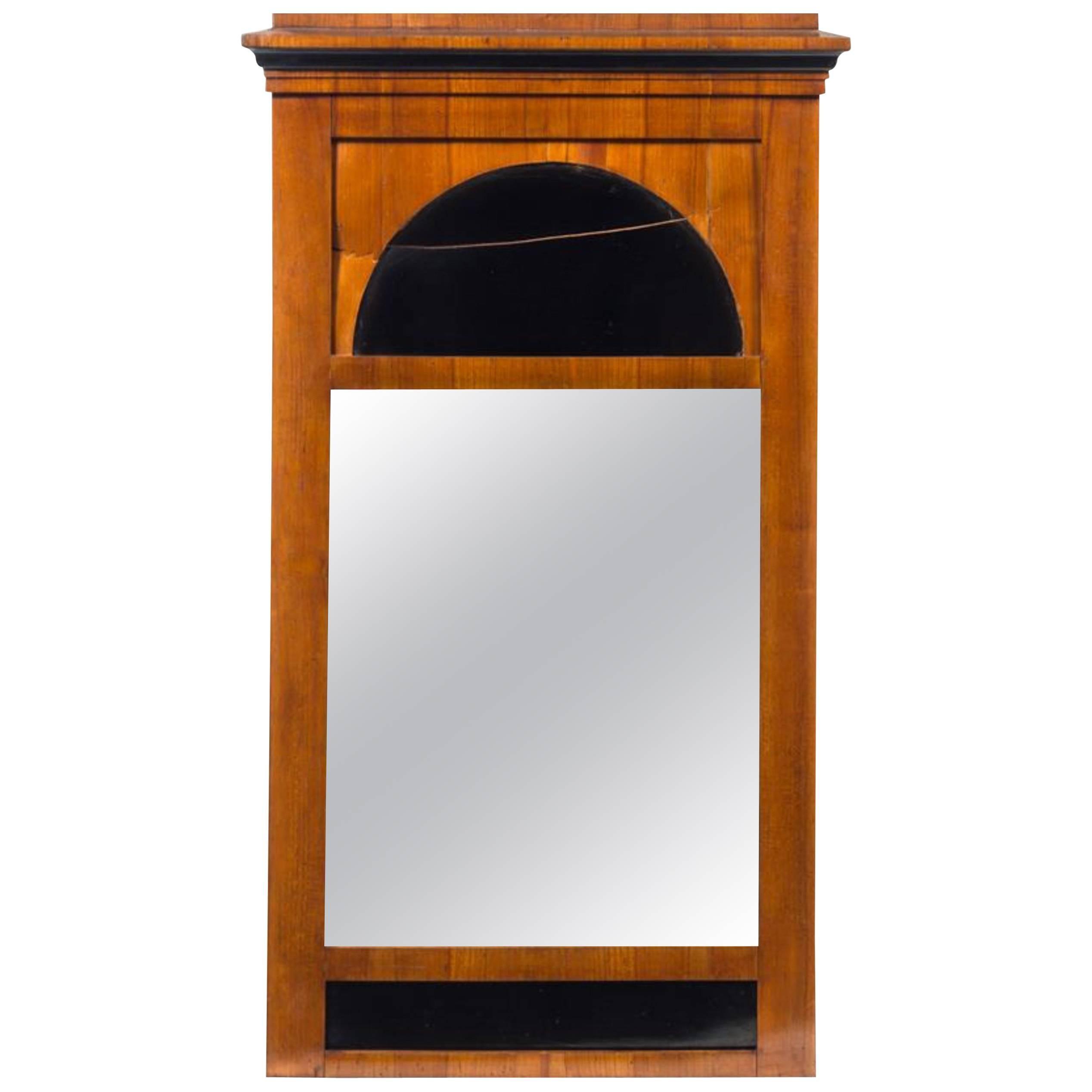 Biedermeier Fruitwood Pier Mirror, 19th Century