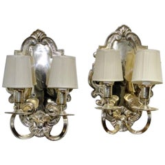 Pair of Baroque Style Silver-Plated Metal Two-Light Wall Sconces