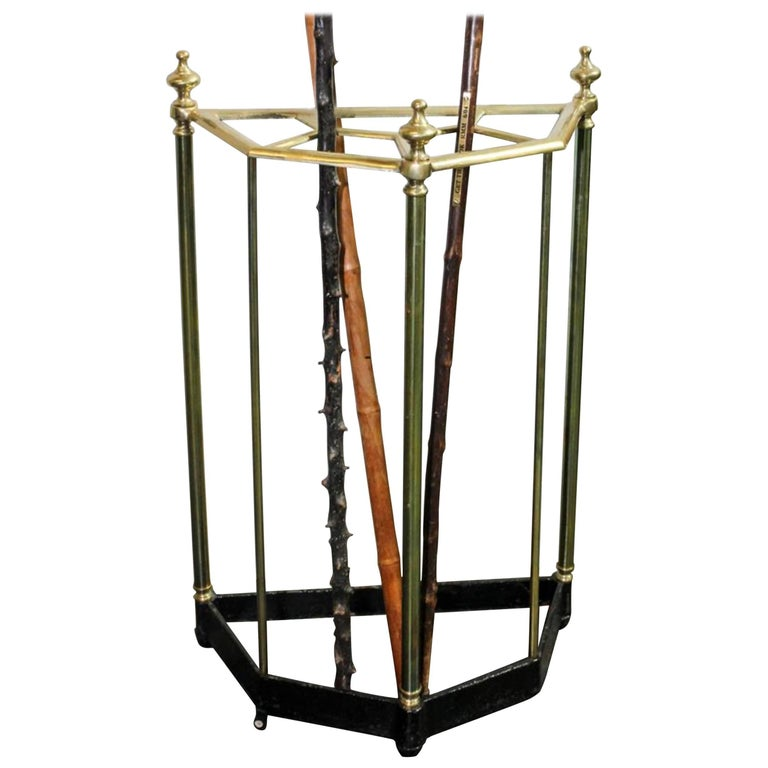 Group of Three Canes Each with a Wood Handle in a Brass Stand For Sale