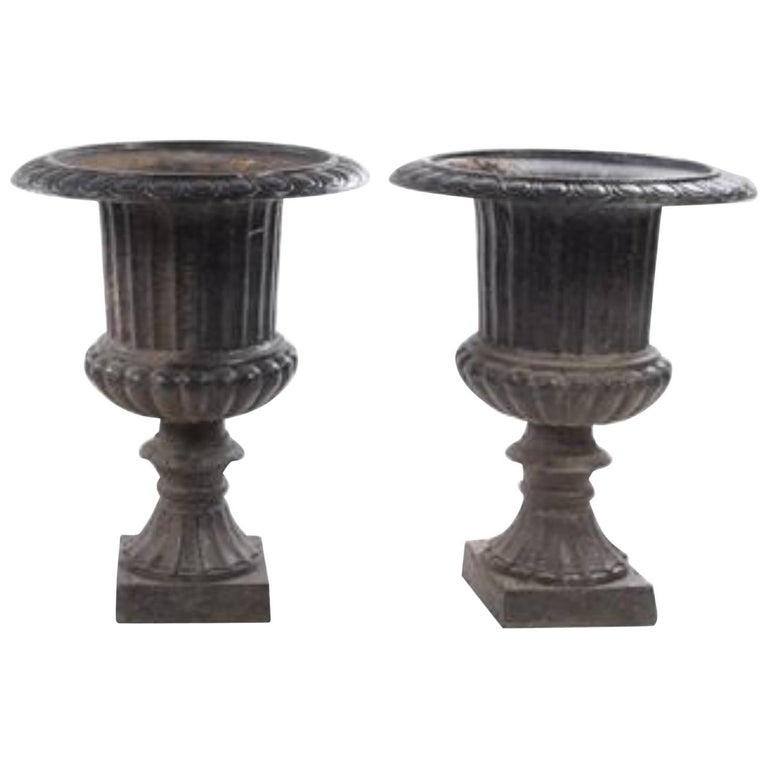 One Pair of Neoclassical Cast Iron Urns, 19th Century