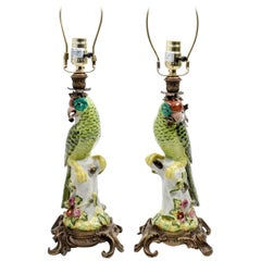 Pair of Hollywood Regency Continental Porcelain Figural Lamps, 20th Century
