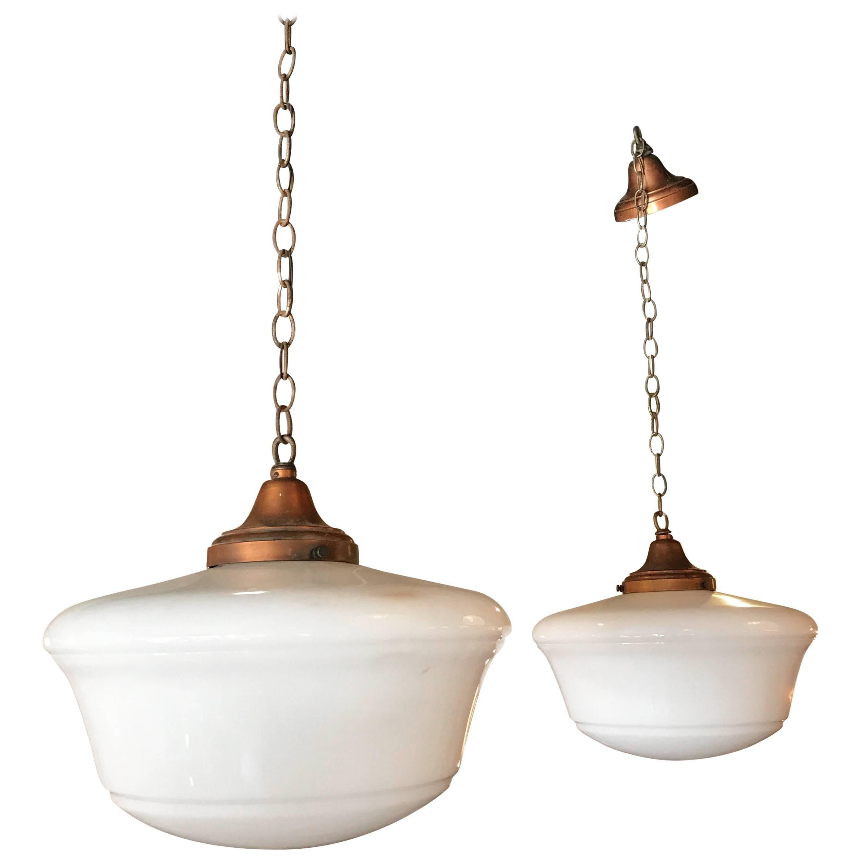 Superbe Art Deco Milk Glass And Copper Schoolhouse Pendant Lights For Sale