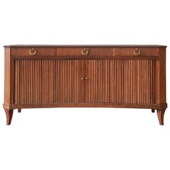 Baker Furniture Regency Style Curved Front Tambour Door Sideboard or Credenza