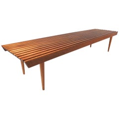 Mid-Century Modern Walnut Slat Bench