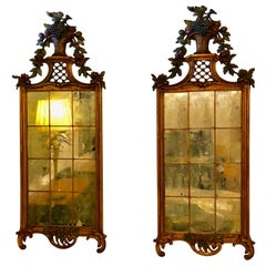 Pair of Louis XVI 19th Century Wall Console / Peir Mirrors, Carved and Painted