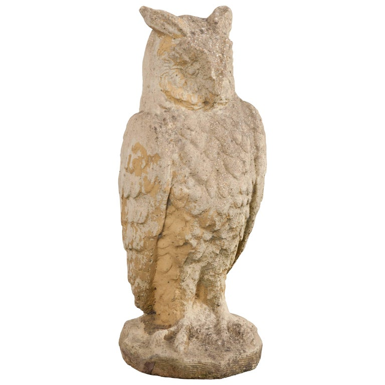 English Early 20th Century Stone Owl