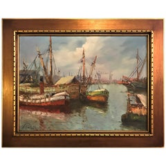 Oil on Canvas Painting of Boats Signed a Valnez Fishing Boats at the Dock
