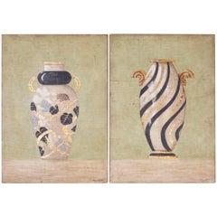 Pair of Fresco Style Oil Paintings