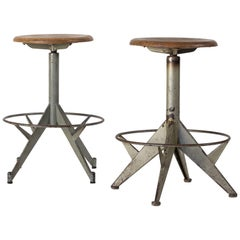 Vintage French Swivel Stools with Metal Base and Wooden Seat