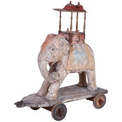 Large Anglo-Indian Carved Wood Elephant on Wheels