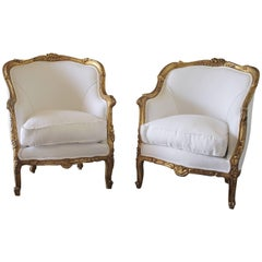 20th Century Giltwood Carved Bergere Chairs in White Belgian Linen
