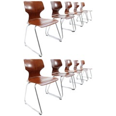 Set of Ten Design Dining Chairs, Flötotto