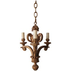 Small Giltwood Three-Light Chandelier