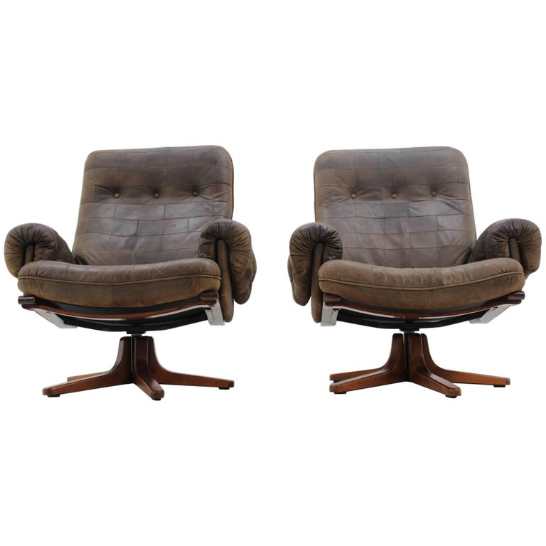 Pair Of Scandinavian Design Leather Armchairs For