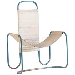 Blue Metal Bauhaus Sling Chair