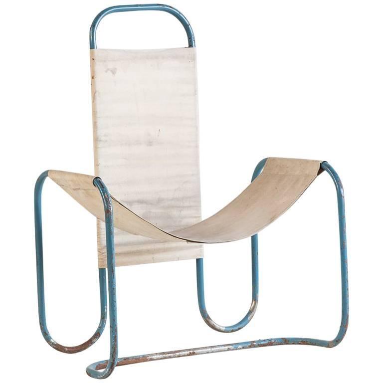 Blue Metal Bauhaus Sling Chair For Sale