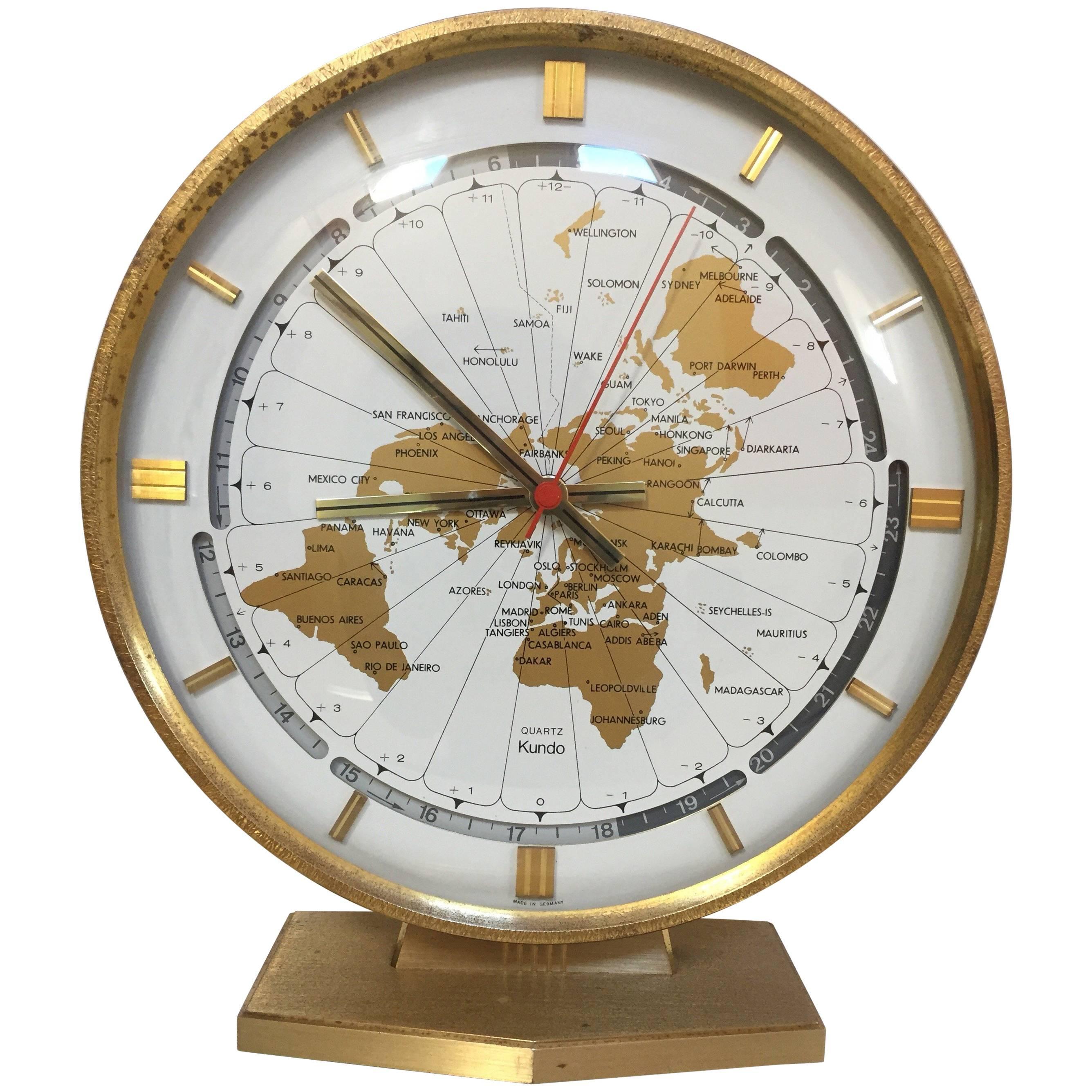 Modernist Desk World Clock Kundo by Kieninger & Obergfell West Germany 1960s