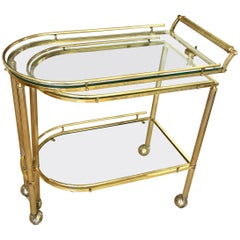 Brass Three-Tier Swivel Italian Bar Serving Cart