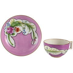 Meissen Marcolini Porcelain Cup and Saucer Hand-Painted Pink Rose, circa 1800