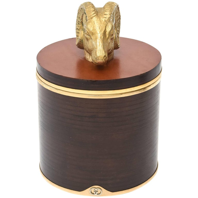 Italian Signed Gucci Wood, Leather & Brass Rams Head Lidded Box For Sale