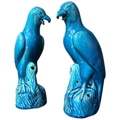 Pair of Chinese Export Turquoise Glazed Hawks, Late 19th Century, China