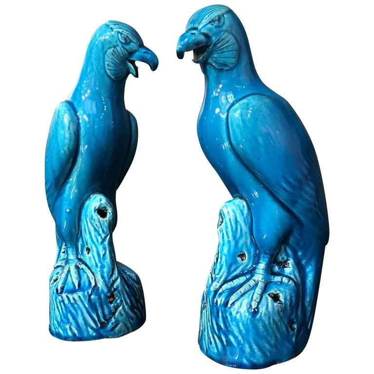 Late 19th Century Pair of Chinese Export Turquoise Glazed Models of Hawks For Sale