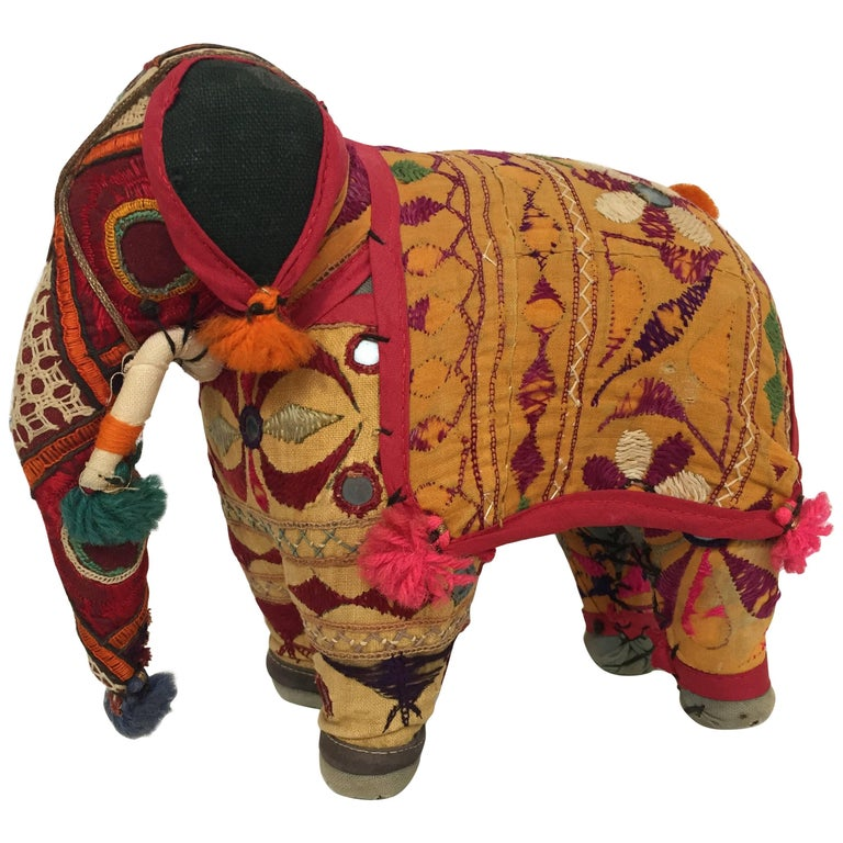 Hand-Crafted Anglo Raj Vintage Stuffed Cotton Embroidered Elephant, India 1950 For Sale