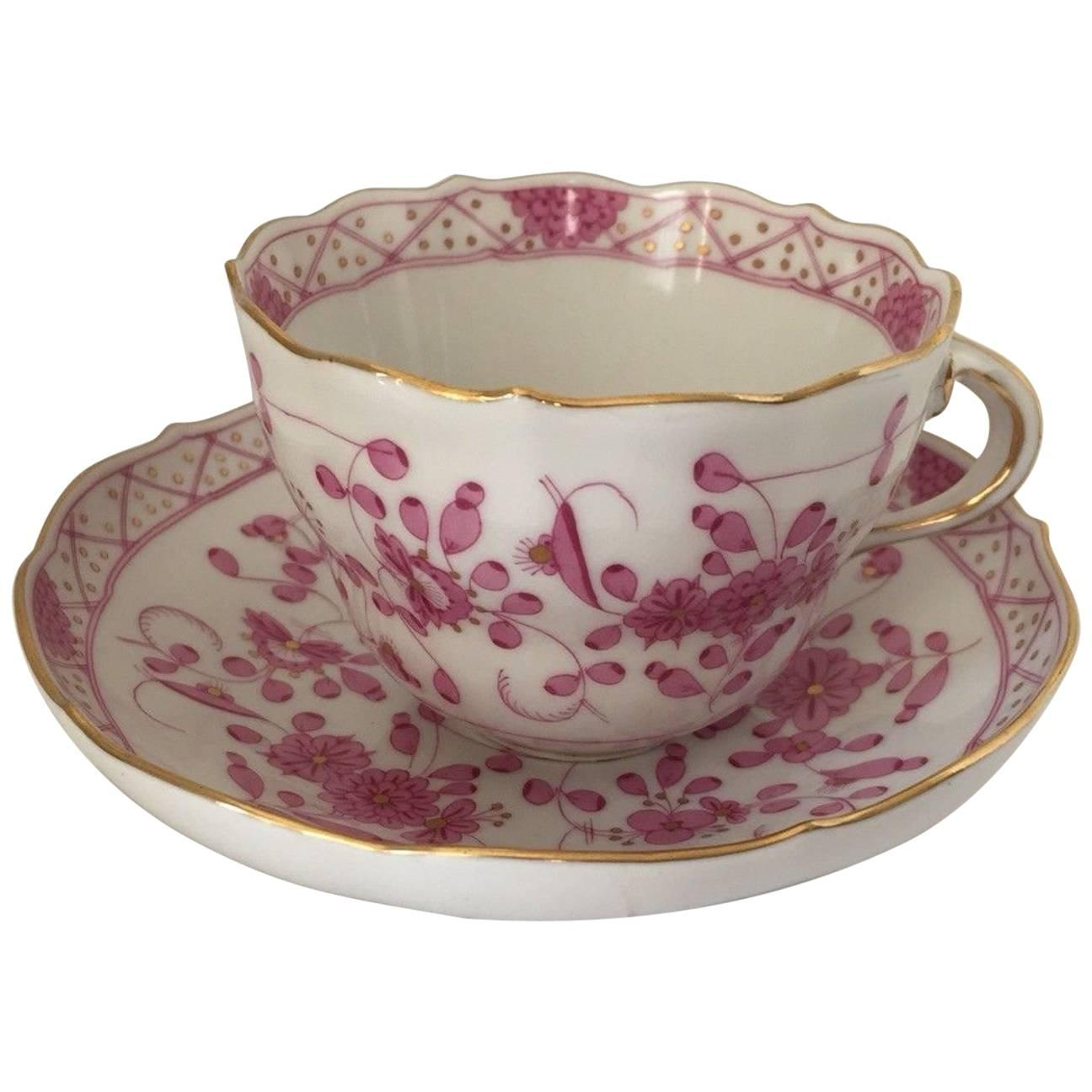 Meissen Purple Indian Porcelain Cup and Saucer