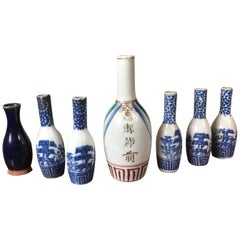 Japanese Antique Hand-Painted Ceramic Sake Bottles Collection, 19th Century