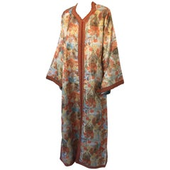 Moroccan Floral Brocade Multi-Colored Embroidered Kaftan, 1970s Caftan