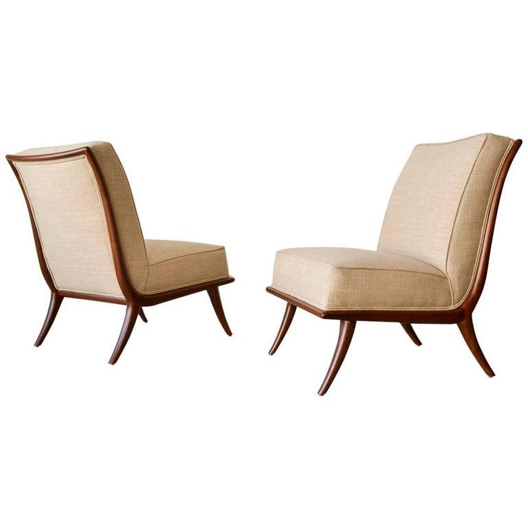 Pair of T. H. Robsjohn-Gibbings Walnut Sabre Leg Slipper Chairs, circa 1950
