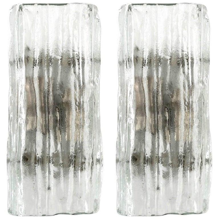 Pair of Kalmar Glass Sconces Wall Lights 'Fuerstenberg', 1970s