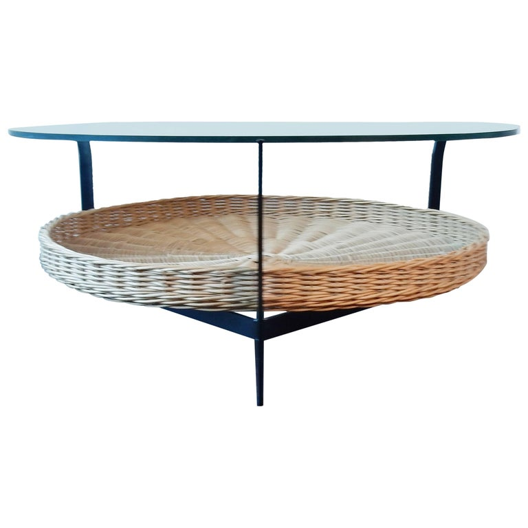 Coffee Table of Metal Frame with Wicker Basket and Hung Safety Glass Top, 1960s