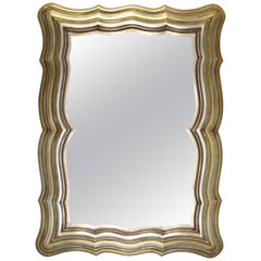 Italian Silver and Gold Gilt Hand Carved Scalloped Wood Mirror, 1950