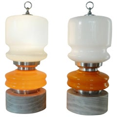 Two Large Orange and White Glass Table Lamps on Stone Pedestal, 60's/70's