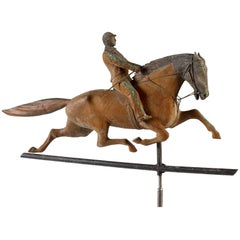 Molded Copper Horse and Rider Weathervane