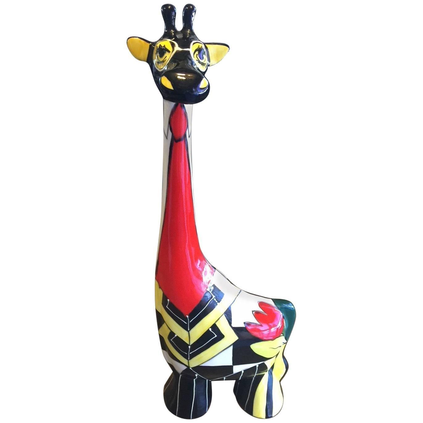 Colorful Ceramic Giraffe by Turov Art of Russia
