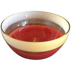 Midcentury Signed Italian Art Glass Bowl by Barbini for Oggetti for Murano