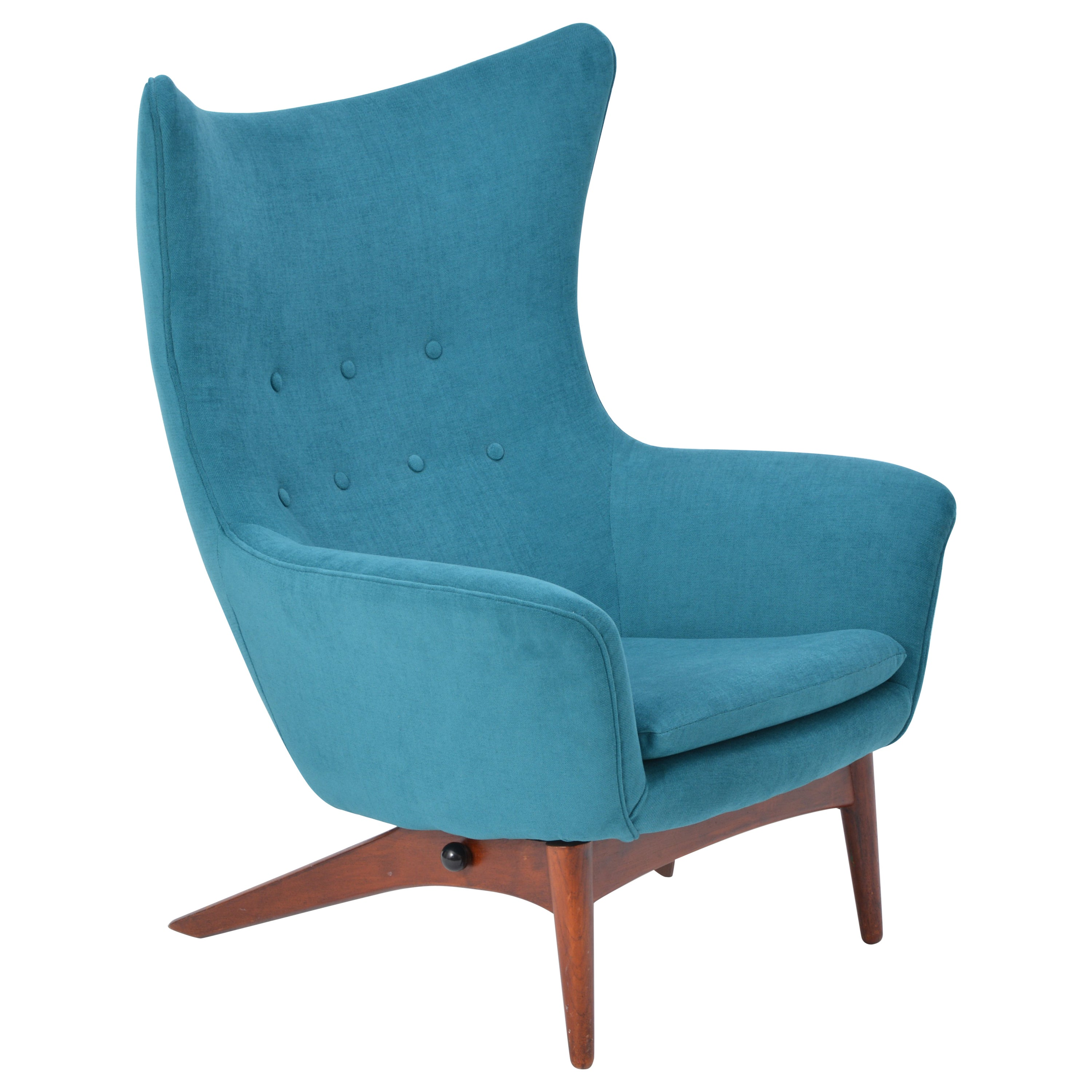 Reupholstered Danish Mid-Century reclining chair designed by Henry Walter Klein